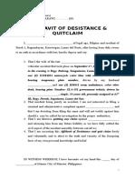 sample affidavit of desistance and quitclaim