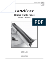 Veritas Router Table Fence Manual