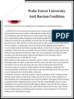Wake Forest University Anti-Racist Coalition statement