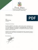Cartas de felicitaciones del presidente Danilo Medina a Atletas del Año y personalidades reconocidas en la Gala Olímpica 2019