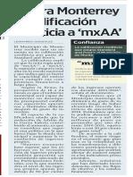 25-02-19 Mejora Monterrey su calificación crediticia a 'mxAA'