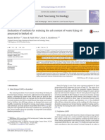Evaluation Methods for Reducing Ash of Waste Frying Oil