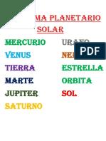 EL SISTEMA Planetario SOLAR Practica