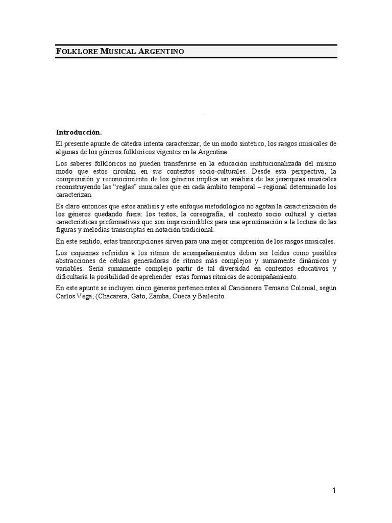 Apunte De Catedra Folklore Musical Argentino