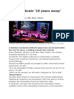 Artificial Brain '10 Years Away' - BBC News