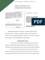 Montres Breguet S.A. et al [Swatch] v. Samsung Electronics Co. Ltd., 1-19-CV-01708 (S.D.N.Y. Feb. 22, 2019) (Complaint)