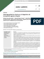 Heterogeneidad de Criterios en El Diagnóstico de Bronquiolitis Aguda en España