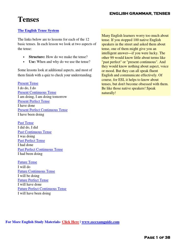 General English Grammar Tips- Tenses Download in PDF | Perfect