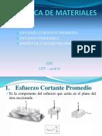 (2) Esfuerzo Cortante Promedio, Esfuerzo Permisible y Diseño de Conexiones