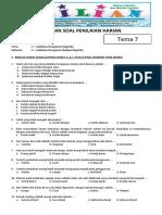Soal Tematik Kelas 4 SD Tema 7 Subtema 2 Indahnya Keragaman Budaya Negeriku - Www.bimbelbrilian.com
