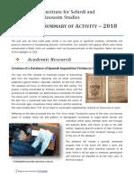 Summary of Activity Isas ‒ 2018