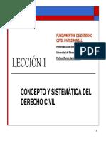 LECCIÓN 1 - Concepto y Sistemática Del Derecho Civil (2018-2019)