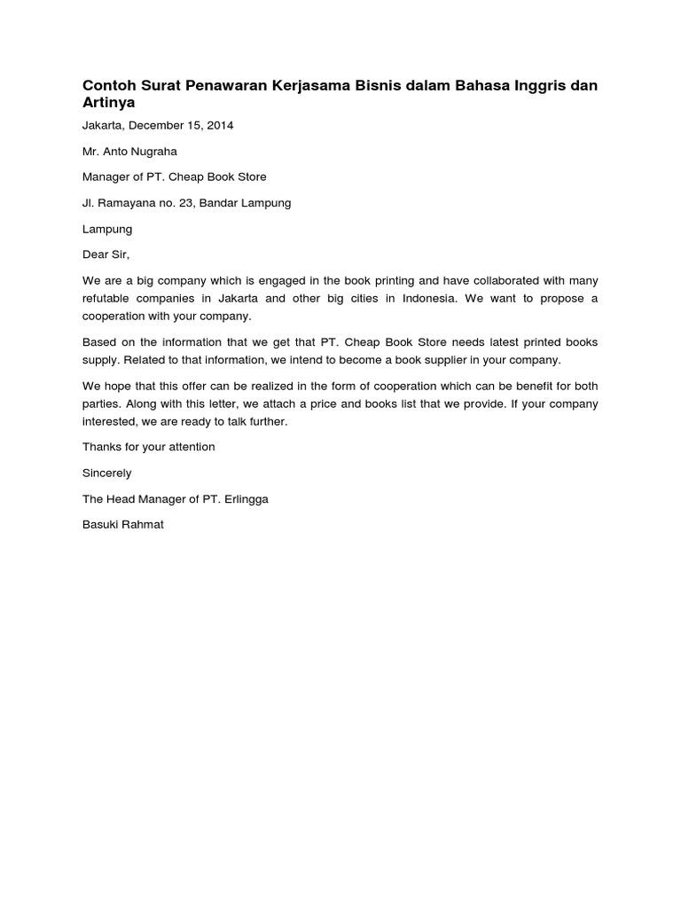 Contoh Surat Penawaran Kerjasama Bisnis Dalam Bahasa Inggris Dan Artinya