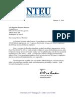 NTEU Letter Re