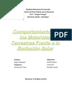 Comportamiento de Los Materiales Terrestres Frente a La Radiacion Solar