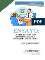 Ensayo - La Observación y Su Importancia en La Entrevista Psicológica