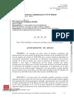 Auto  en el que se suspende el informe del Ayuntamiento de San Lorenzo del Escorial