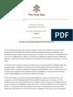 Papa Francesco Lettera AP 20160817 Humanam Progressionem