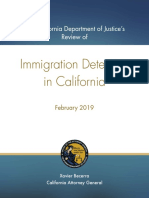Immigration Detention 2019 report by Attorney General Xavier Becerra