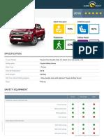 Euroncap Toyota Hilux Toyota Hilux Datasheet