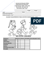 Examen Diagnostico Para Quinto Grado Roy