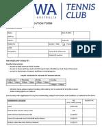 UWA Tennis Club Membership Form