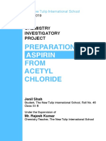 Chemistry Investigatory Project Class 12 - Preparation of Aspirin from Acetyl Chloride.