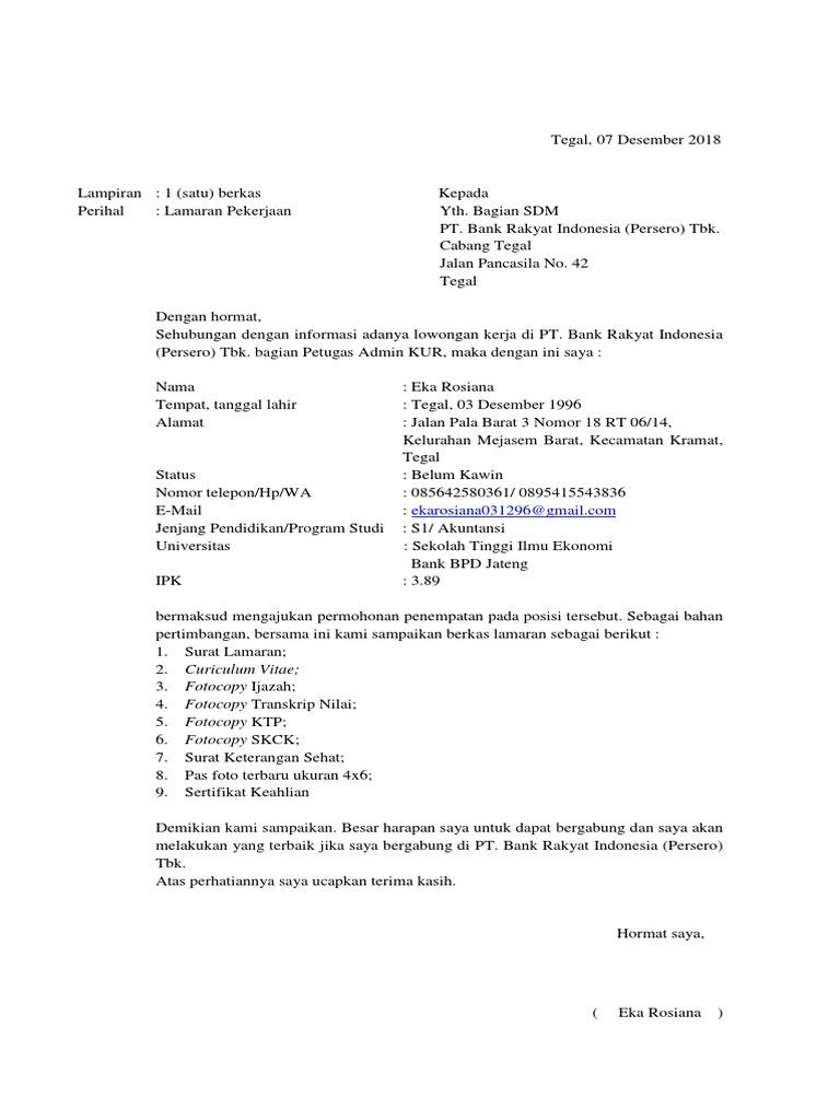 Contoh Surat Lamaran Kerja Bank Bri Lewat Pkss Bagi Contoh Surat