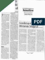 Busines Mirror, Feb. 27, 2019, As enrolled copy of 19 budget bill pends DBM chief inks 20 budget call.pdf