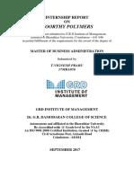 Intership Report- Moorthy Polymers