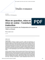Mise en Question, Mise en Forme, Mise en Scène _ l'Aventure d'Une Traduction