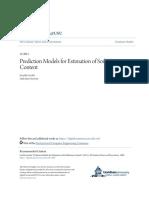 Prediction Models for Estimation of Soil Moisture Content