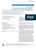 Parental Socio Economic Position and Suicidal Ideation Among Adolescents in Rural Bangladesh