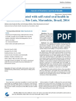 Factors Associated With Self Rated Oral Health in Adolescents in São Luís Maranhão Brazil 2014