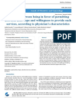 Difference Between Being in Favor of Permitting Abortion After Rape and Willingness to Provide Such Services According to Physician's Characteristics