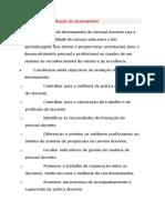 Objectivos da avaliação do desempenho