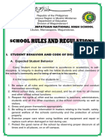School Rules and Regulation of Datu Tahir NHS 2018