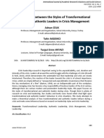 A Comparison Between the Styles of Transformational Leaders and Authentic Leaders in Crisis Management