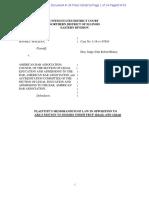Malkan v Am Bar Ass'n - Response to Motion to Dismiss