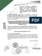 Ley Que Declara de Necesidad Pública y de Interés Nacional La Puesta en Valor Natural y Cultural Para El Desarrollo Turístico Del Santuario Histórico de Chacamarca de La Región de Junín.