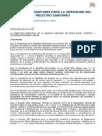 Arcsa de 023 2016 Ymih Normativa Tecnica Sanitaria Sustitutiva Para La Obtencion Del Reg San
