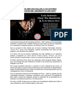 La ANP reclama que hallen a los autores intelectuales del asesinato a Luis Choy
