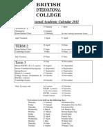 2011 Provisional Academic Calendar