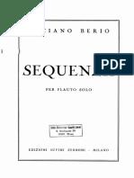 Berio, Luciano - Sequenza I Per Flauto Solo (Original Notation)