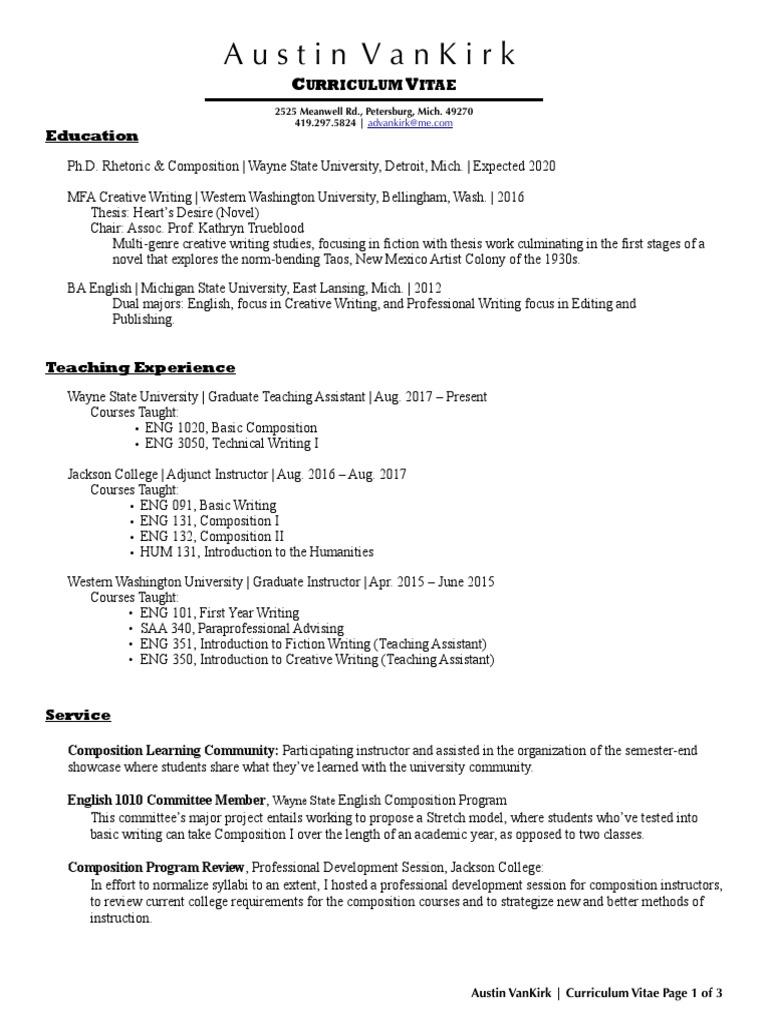 CV VanKirk 032019 | Michigan State University | Creative Writing