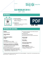 Matrícula Ciclo Regular 2019 - I