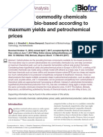 Potential of commodity chemicals to become bio-based according to maximum yields and petrochemical prices