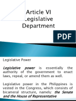 Article VI Legislative Department