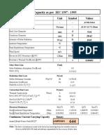 Zebra Current Capacity Calculation Sheet