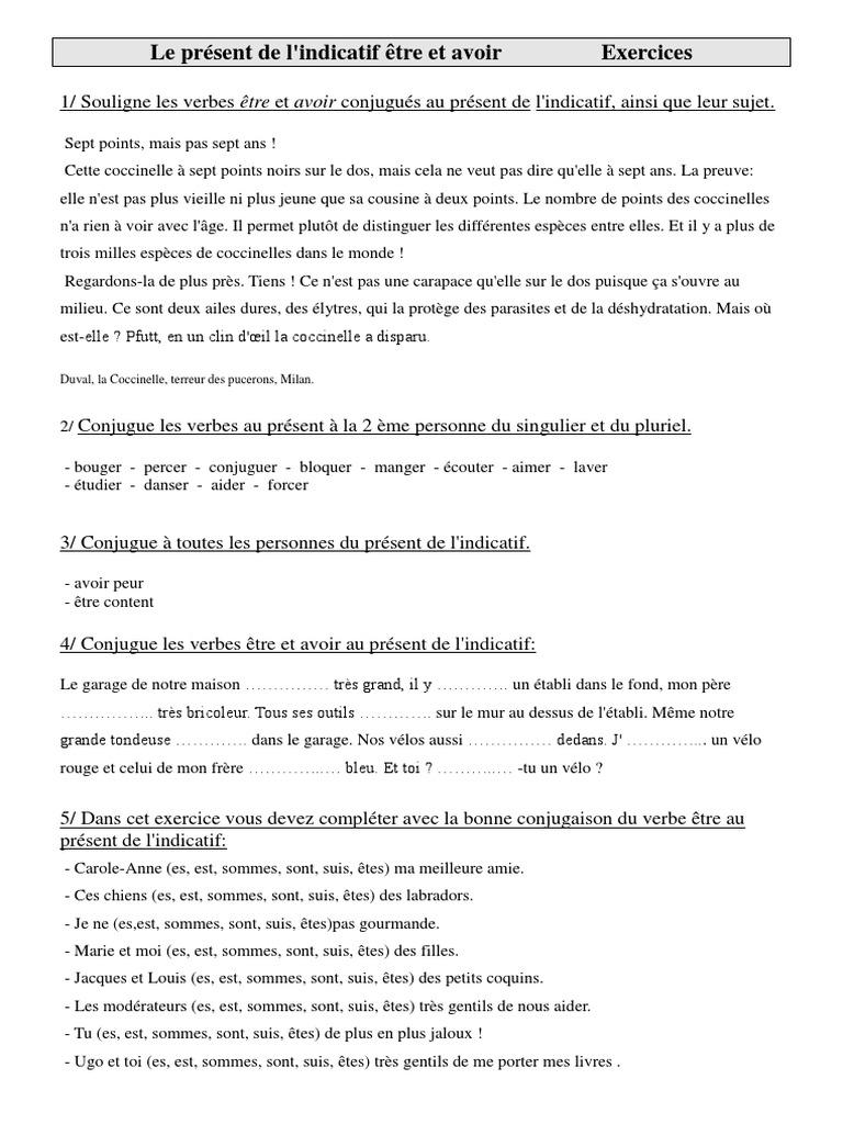 Exercices De Conjugaison Cm1 Cycle 3 Le Present De Lindicatif Etre Et Avoir Pdf